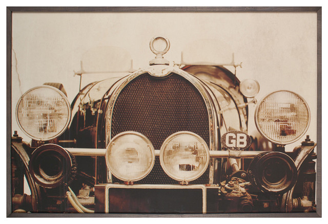 Vintage Bugatti Roadster Industrial Loft Photo Wall Art - Framed industrial-prints-and-posters