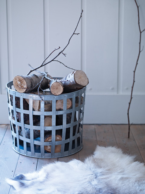 Zinc Log Basket traditional-firewood-racks