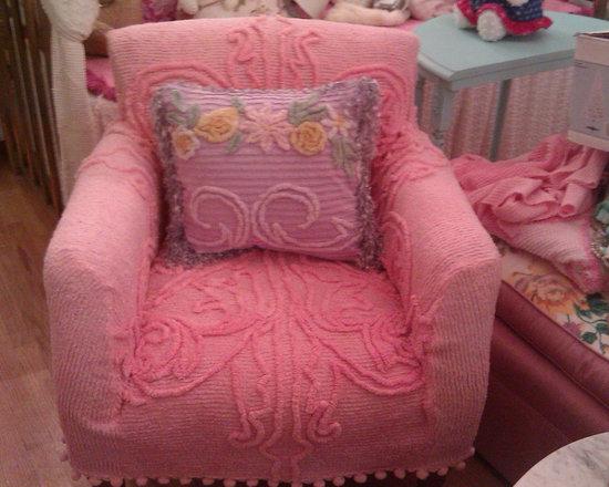 chair pivk vintage chenille bedspread slipcover pom trim shabby chic - I slipcovered this chair with a pink vintage chenille bedspread and vintage pink pom pom trim