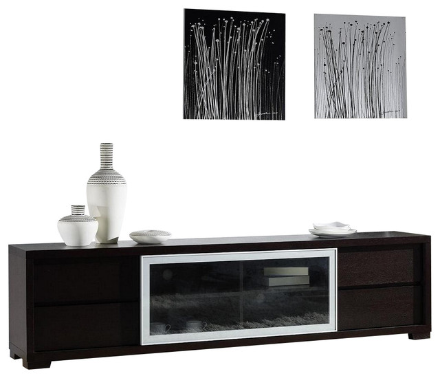 Reflex TV Stand with 4 Drawers and Sliding Glass Door - Modern - Entertainment Centers And Tv ...