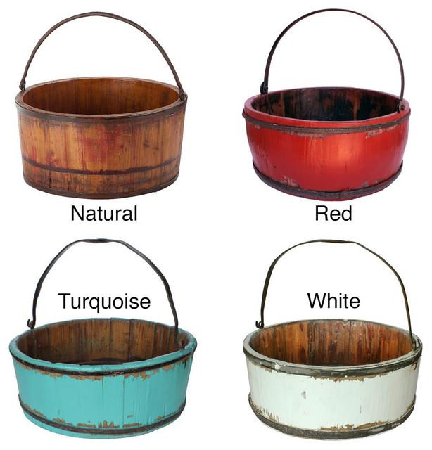 Wooden Vintage Kitchen Bucket contemporary-baskets