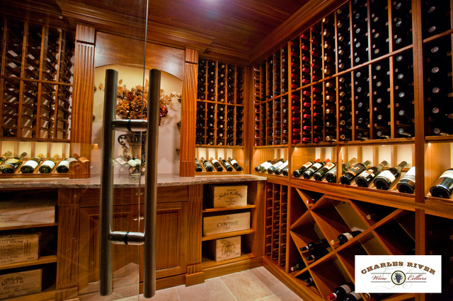 Custom Wine Cellar with Glass Entry System traditional wine cellar