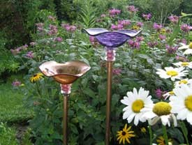 Butterfly Feeder - Handblown Glass eclectic bird feeders
