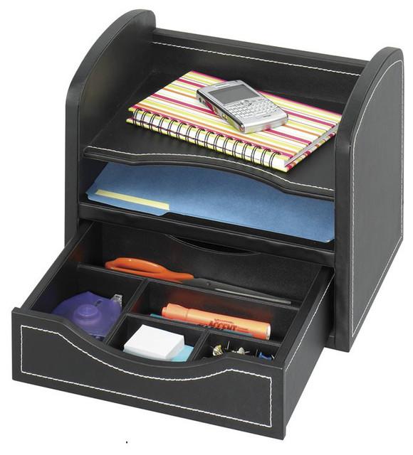 safco leather look desk drawer organizer in black