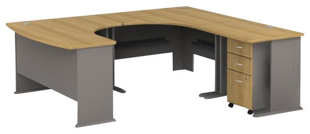 Bush Series A 4-Piece U-Shape Right-Hand Corner Computer Desk in Light Oak - Transitional ...