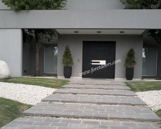 Modern front entry doors / contemporary front entry doors - Solid wood moderny entry door with custom  stainless steel handle