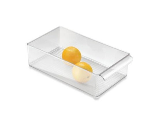 Interdesign - InterDesign Fridge Binz 8-Inch x 15-Inch Stackable Clear Plastic Bin - InterDesign Fridge Binz is easy to clean to provide an ideal storage solution for your refrigerator. Keeps refrigerators neat and organized.