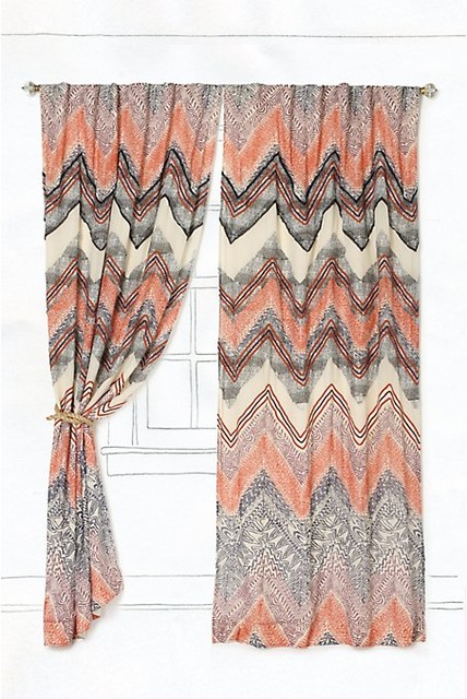 Scattered Chevrons Curtain contemporary-curtains