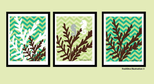 Art Prints, Modern Coral and Seahorse on Chevron by Fresh Line modern-artwork