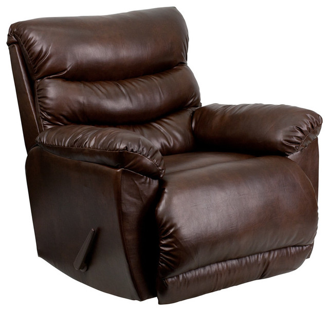 Contemporary Tonto Espresso Bonded Leather Rocker Recliner contemporary-rocking-chairs