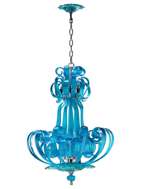 "Cyan Design Aqua Florence Chandelier in Aqua Finish - Cyan Design presents the Florence Collection's Pendant! With an Aqua finish, this piece's Modern style will be a great addition to your home's decor. Composed of Glass material. Dimensions: 33 1/2"" High. Measures 22 3/4"" in Diameter."