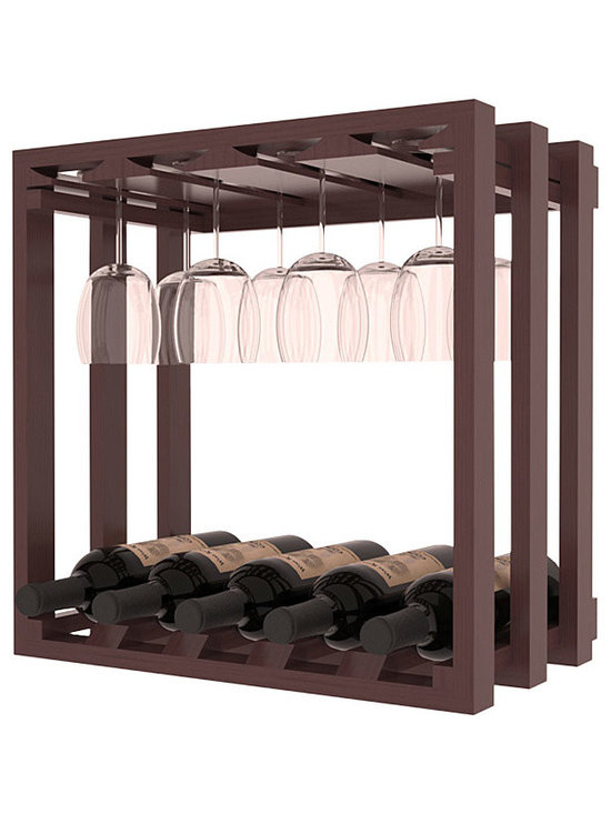 Wine Storage Lattice Stemware Cube in Pine with Walnut Stain + Satin Finish - Designed to stack one on top of the other for space-saving wine storage our stacking cubes are ideal for an expanding collection. Use as a stand alone rack in your kitchen or living space or pair with the 20 Bottle X-Cube Wine Rack and/or the 16-Bottle Cubicle Rack for flexible storage.