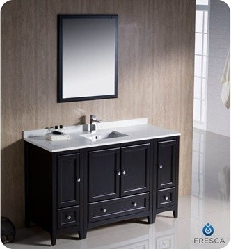 "Fresca Oxford 54"" Traditional Bathroom Vanity with 2 Side Cabinets - Espresso modern"