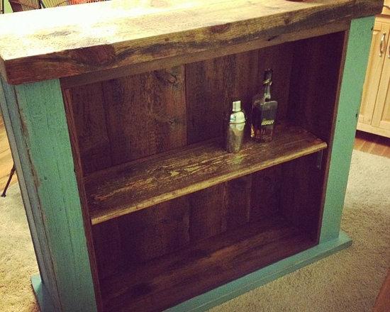Reclaimed Wood Bar - Reclaimed Wood Custom Built Bar (View of Bar Tenders Side)