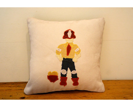 Fireman Scatter Cushion - This simple and elegant cushion features a quirky looking Fireman along with sand bucket. He's not going to help much in case of a real fire but don't fear, all Bye Briytshi cushions are made using tested fire resistant materials.
