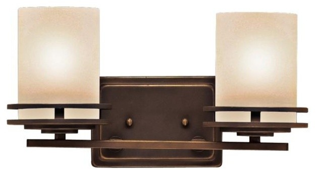 "Contemporary Hendrik Bronze 14 1/2"" Wide Bathroom Light Fixture"