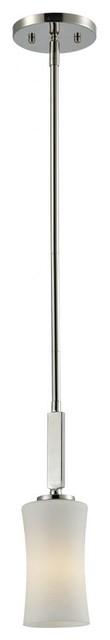 One Light Chrome Matte Opal Glass Drum Shade Mini Pendant contemporary-pendant-lighting