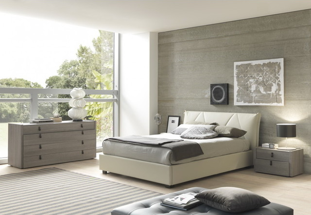 bedroom set in grey beige bed 2 nightstands and modern bedroom