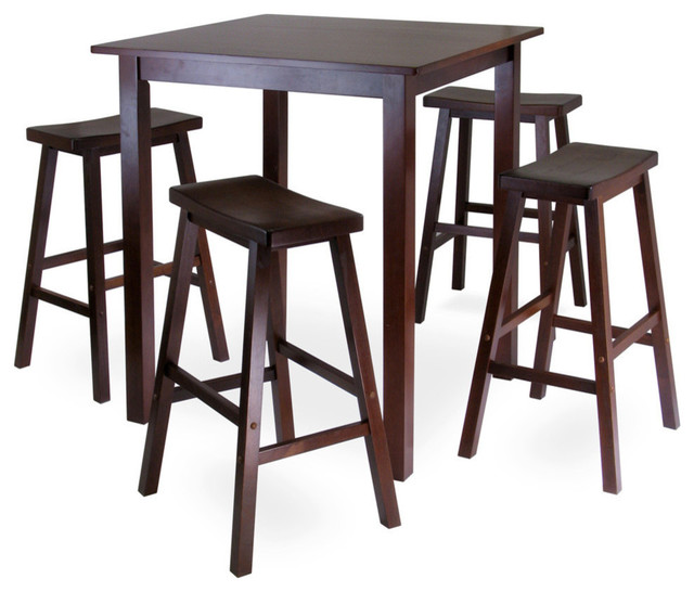 5pc Set Round Dinette Kitchen Table W 4 Microfiber: Winsome Wood Parkland 5 Piece Square High/Pub Table Set W