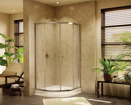 "Fleurco Banyo Amalfi Round 32"" x 32"" Frameless Curved Glass Sliding Shower Doors - Deluxe anti-jump smooth rolling system"