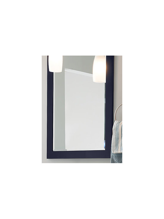 Flat Framed Bevel Mirror - A pair of beveled mirrors above the vanity provides plenty of morning prep space for two people.