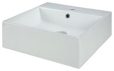 Xylem CVE189SQ Square Vitreous China Vessel Sink - White modern-bathroom-sinks