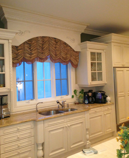arched shirred window treatment traditional kitchen ForArched Kitchen Window Treatment Ideas
