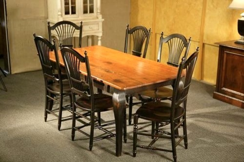 Pine Dining Table With Brown Cherry Finish With Black French Legs