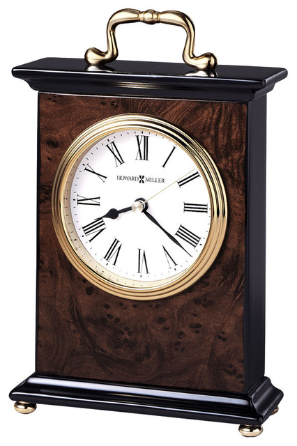 Walnut Finished Mantel Clock with Brass Butto contemporary-desk-and-mantel-clocks