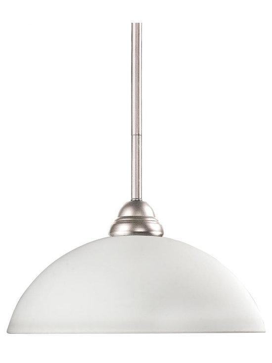 Joshua Marshal - One Light Brushed Nickel Matte Opal Glass Down Pendant - Finish: Brushed Nickel