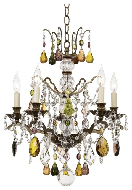 Crystal Schonbek Gallia Collection Multi Color Crystal Chandelier eclectic chandeliers