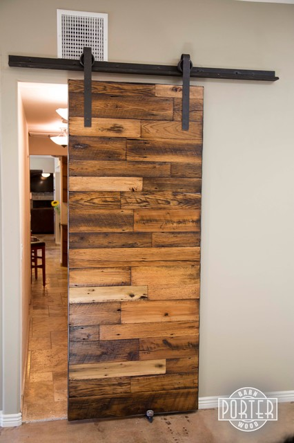 Sliding Barn Door - (3) Tobacco Barn Wood with Flat Lacquer Finish - Contemporary - Interior ...