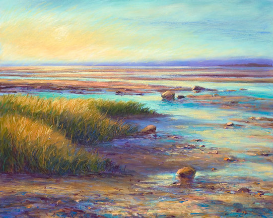 Beach painting Ocean Sunset - Sophisticated and refined paintings have a deep luminous, lustrous quality. Their sensuous colors and rich combinations evoke intimate reflection.