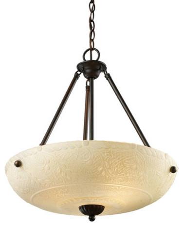 Restoration White Aged Bronze Four-Light Pendant modern-pendant-lighting