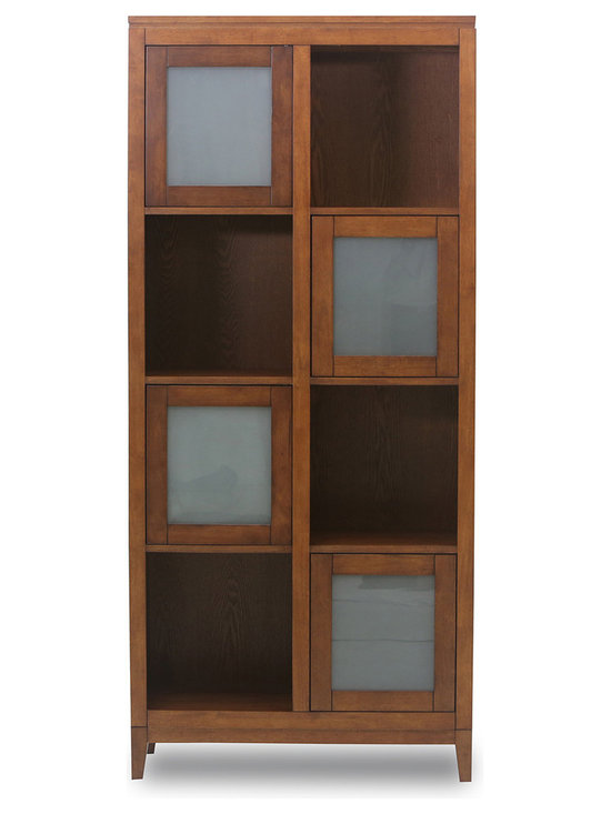 Bryght - Jock Bookcase - The Jock gives off a lovely natural feel with its solid wood construction. This tall bookcase comes with interchangeable glass door panels that can be fixed to your liking. Ideal for showcasing your collectibles, photo frames and books or to stow away any knick knacks.