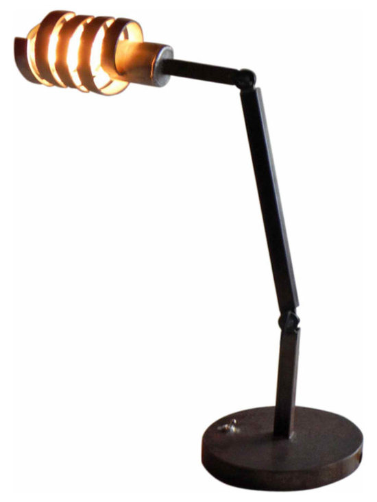Crane desk lamp spirale #1 - Inspired by the permanent aerial ballet taking place in the new york skyline the crane desk lamp is a simple and elegant reference to classic engineering.