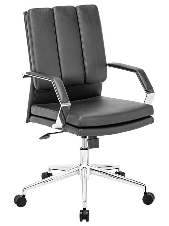 "Zuo - Zuo Director Pro Black Office Chair - Black faux leather adjustable office chair. Wrapped seat and back cushions. Chrome finish solid steel arms with leatherette pads. Height and tilt adjustment. Chrome finish rolling base.  A chic addition to your home from Zuo Modern. 27 1/2"" wide. 27 1/2"" deep. Height adjusts from 38"" - 41"". Seat is 20"" square. Seat height adjusts from 19"" - 21 3/4"". Arm height adjusts from 26"" - 28 1/2"". Some assembly required.  Black faux leather adjustable office chair.  Wrapped seat and back cushions.  Chrome finish solid steel arms with leatherette pads.  Height and tilt adjustment.  Chrome finish rolling base.  A chic addition to your home from Zuo Modern.  27 1/2"" wide.  27 1/2"" deep.  Height adjusts from 38"" - 41"".  Seat is 20"" square.  Seat height adjusts from 19"" - 21 3/4"".  Arm height adjusts from 26"" - 28 1/2"".  Some assembly required."