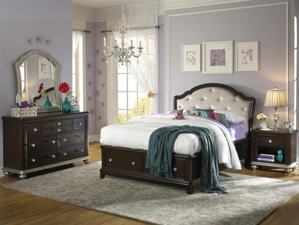 Samuel Lawrence Girls Glam 7 Piece Twin Bedroom Set In Dark Cherry 8688 5