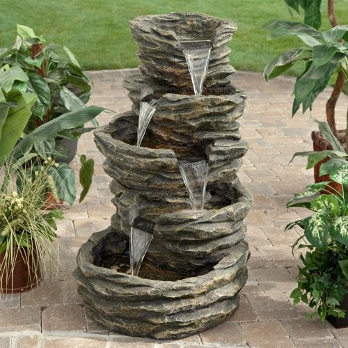 Alpine Five Level Rock Pond Waterfall Fountain Modern
