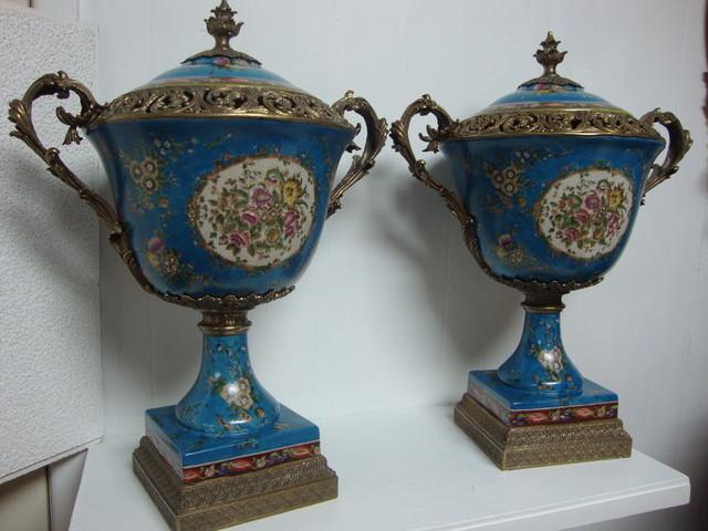 "Porcelain Ormolu Bronze Garniture Bronze Mount Center Piece Urn w/ Lid 24""H traditional-indoor-fireplaces"