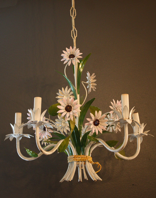 Italian Tole Floral Flower Chandelier 1940s Gorgeous traditional-chandeliers