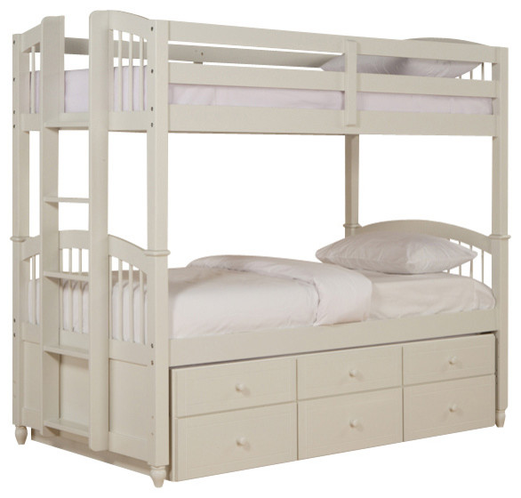 Powell May Twin Twin Bunk Bed With Trundle In White