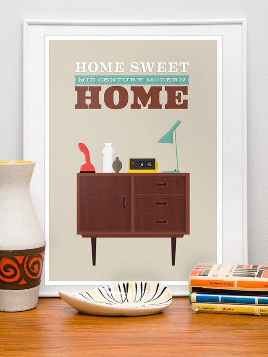 Poster Print - mid century modern home - Poster print featuring some of the iconic midcentury modern classics like danish modern sideboard, ericophone, flipclock...
