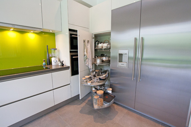 Tall Kitchen Storage with Le Mans corner unit - Modern - Kitchen Cabinetry - london - by LWK ...