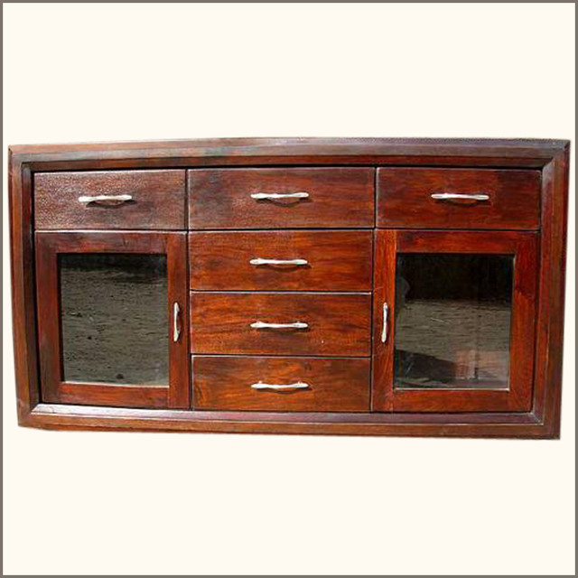 Rustic Wood Buffet Glass Door 6 Storage Drawers Credenza Cabinet - Eclectic - Buffets And ...