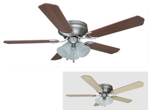 "Satin Nickel 52"" Hugger Ceiling Fan w Light Kit"