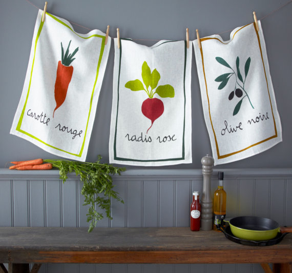 French Farmer's Market Linen Dish Towel by Mountain Lodge traditional-dish-towels