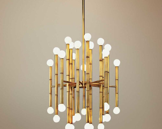 Jonathan Adler Meurice Brass Robert Abbey Chandelier - There is something so retro-modern about this chandelier that I just can't get enough of. This fixture is sure to be a showstopper in any room.