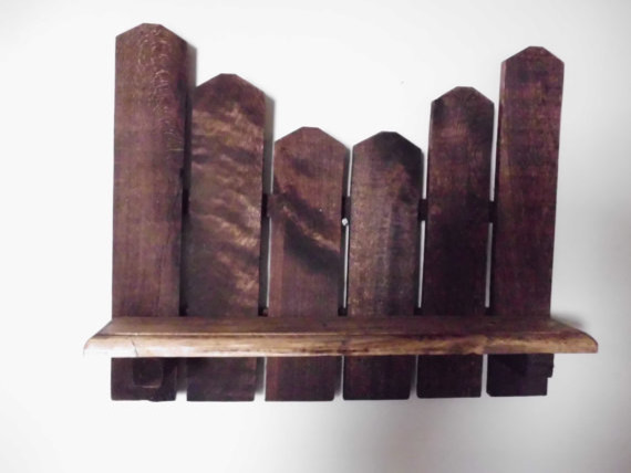 Primitive Picket Shelf Made With Reclaimed Wood By Joannie's Country Shop eclectic-display-and-wall-shelves