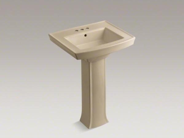 "KOHLER Archer(R) pedestal bathroom sink with 4"" centerset faucet holes contemporary-bathroom-sinks"